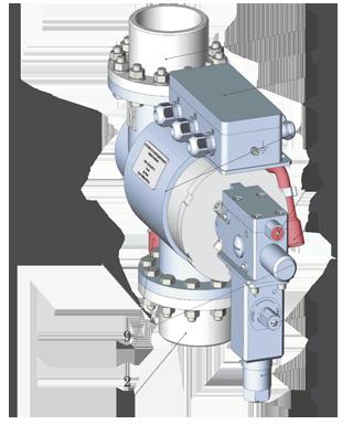 Общий вид УРУ (ДУ80, Ду100, Ду125, Ду150), где: 1 - выходной ниппель (фланец); 3 - корпус; 4 - коробка соединительная; 5 - указатель состояния; 6 - болт управления ручным пуском; 7 - толкатель _сменный узел); 8 - место установки ПУО-2; 9 - СДГ; 10 - рукоятка ручного пуска; кабели от ПУО-2 и СДГ условно не показаны
